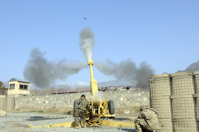 Afghan National Army soldiers from 2nd Brigade, 201st Corps, fire their D-30 Howitzer, Jan. 18, 2013, at Combat Outpost Monti, Afghanistan, as advisors from Security Force Advisory and Assistance Team-5, 1st Brigade Combat, 101st Airborne Division (Air Assault), observed and evaluated the training.