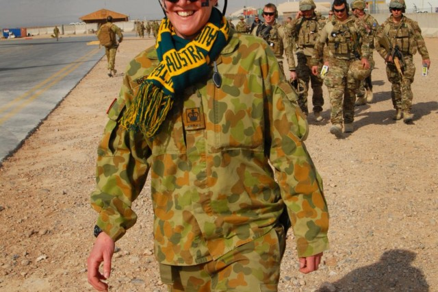 Australian Warrant Officer Class Two Meagan Bressow celebrates Australia Day while coordinating the movement of personnel and baggage on and off aircrafts at Multi National Base Tarin Kot, Afghanistan, on Jan. 26, 2013. Australia Day marks the landing of the first British fleet at Sydney Cove in 1788, and is typically commemorated with food and gatherings with family and friends.