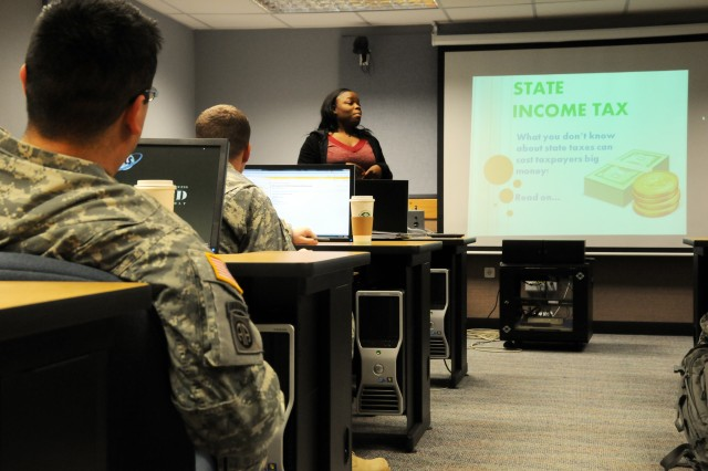 Stephanie Shannon, tax coordinator for the Joint Multinational Training Command, trains Soldier and civilian employees from throughout Bavaria on how to prepare and file state income taxes at Camp Normandy on Jan. 16.
