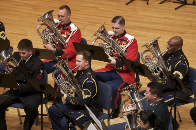 A joint forces euphonium ensemble performs at the 2011 Tuba Euphonium Conference.