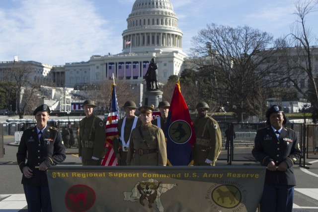 81st Wildcat WWI color guard marches in 57th Presidential Inauguration parade