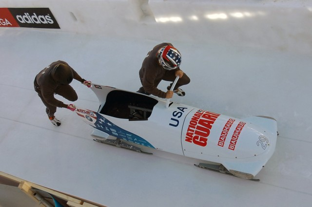 U.S. Army World Class Athlete Program Soldiers Sgt. Nick Cunningham and Sgt. Dallas Robinson finish 13th in the two-man bobsled event at the 2013 Bobsled and Skeleton World Championships, Jan. 26-27, 2013, in St. Moritz, Switzerland.