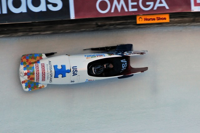Cory Butner and U.S. Army World Class Athlete Program Capt. Chris Fogt finish a career-best ninth in the two-man bobsled event at the 2013 Bobsled and Skeleton World Championships, with a four-heat cumulative time of 4 minutes, 24.81 seconds, Jan. 26-27, 2013, in St. Moritz, Switzerland.