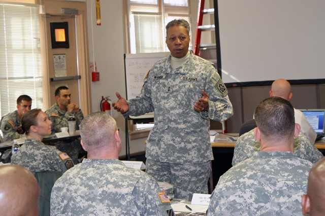 "FORT SAM HOUSTON, Texas - Maj. Gen. Adolph McQueen Jr., deputy commanding General for support, U.S. Army North, speaks to gathered leaders Jan. 16 about the importance of a strong command team "" and taking care of both the Soldiers and self "" during the U.S. Army North, Company Commander and First Sergeant Training Course.   (U.S. Army photo by Staff Sgt. Corey Baltos, Army North PAO)"