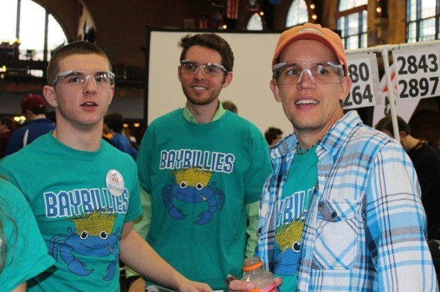Dan O'Neill, mechanical engineer at ECBC (middle), attends the regional FTC competition in Annapolis, Md. three weeks ago to support the 'Baybillies.'