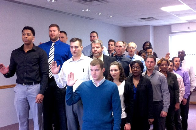 ACC - New Jersey welcomed 24 new contracting interns at a swearing-in ceremony conducted Jan. 14. As part of the intern program, participants will receive on-the-job training and skill-broadening assignments to more fully understand their contracting mission and associated business processes.