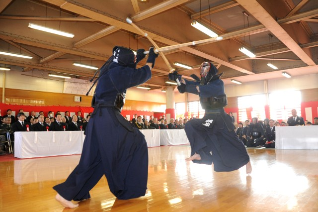 Police officers from the Sagamihara South Police Station in Japan show off their kendo techniques during their annual New Year's martial arts demonstration held Jan. 22 at the Sagamihara South Police Station. Soldiers from the 88th Military Police Detachment at Camp Zama also performed a modern Army combatives demonstration during the ceremony.