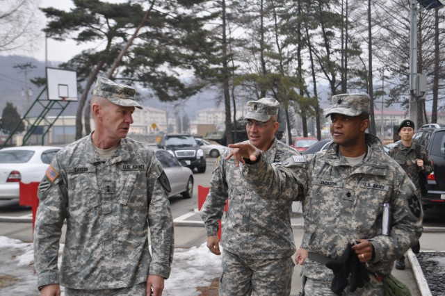 CAMP CASEY, South Korea - Lt. Col. Eric Jackson, the commander of 70th Brigade Support Battalion, 210th Fires Brigade, 2nd Infantry Division, briefs Maj. Gen. Cardon, the commanding general of the 2nd Infantry Division, and Command Sgt. Maj. Andrew J. Spano, the Division command sergeant major, to 70th Brigade Support Battalion, on his units' respective mission. (U. S. Army photo by Pfc. Kim Han-byeol, 210th Fires Brigade Public Affairs Specialist/Released).