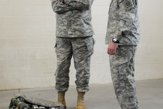 Chief of Staff of the Army, Gen. Raymond T. Odierno, speaks with a Paratrooper from 2nd Brigade Combat Team, 82nd Airborne Division at Fort Bragg, N.C., Jan. 30.The CSA, along with other high-level Army officials, visited the 82nd Airborne Division and observed equipment used in airborne operations.