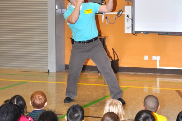 Dr. (Maj.) Kevin Parker shows students the many tricks possible after some serious practicing with a yo-yo.