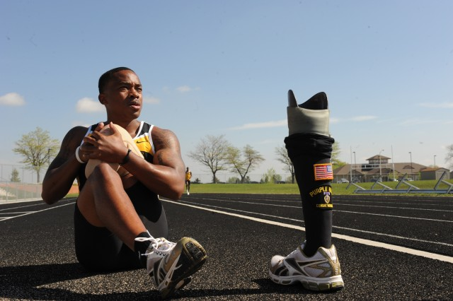 U.S. Army World Class Athlete Paralympic Program Sgt. Jerrod Fields, a below-the-knee amputee pictured here stretching on the track at Fort Carson, Colo., is a quintessential candidate for the Valor Games, which are expanding into three more regions this year.