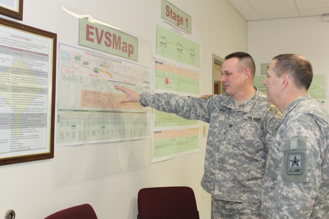 Lt. Gen. Peter M. Vangjel (left), Department of the Army Inspector General, is shown the value stream map of the Rock Island Arsenal Joint Manufacturing and Technology Center by Col. James O. Fly, Jr., (right) commander RIA-JMTC.