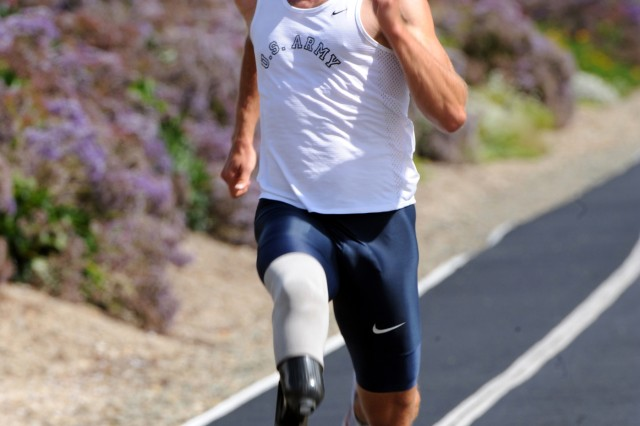 U.S. Army World Class Athlete Paralympic Program runner Sgt. Rob Brown, seen here doing some downhill training at the U.S. Olympic Training Center in Chula Vista, Calif., became a below-the-knee amputee after surviving enemy fire at Ramadi, Iraq, in 2006. He is a quintessential candidate for the Valor Games, which are expanding this year into three new venues.