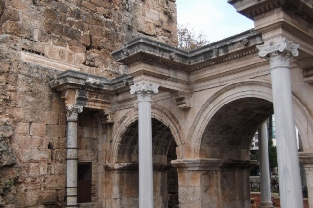 Built in 130 A.D., Hadrian's Gate still marks the entrance to the 'old city.'