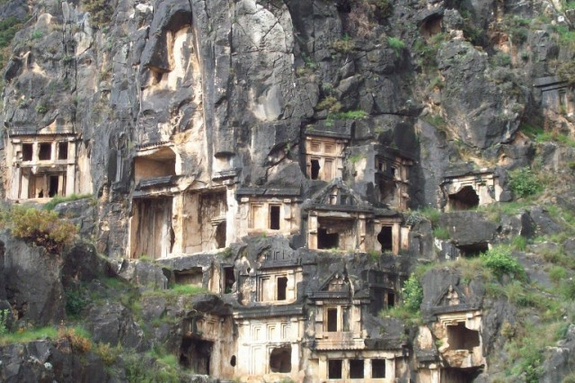 Lycian Tombs dating from the 6th century B.C. are dug into the cliffs above ancient Myra.