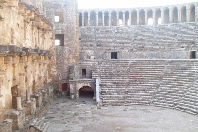 The amphitheater at Aspendos is the best preserved ancient theater in the world.