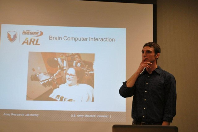 Dr. Greg Apker, Human Research and Engineering Directorate, discusses brain computer interaction at the Northeastern Maryland Technology Council's Science Café held at the Harford Public Library, Jan. 8.
