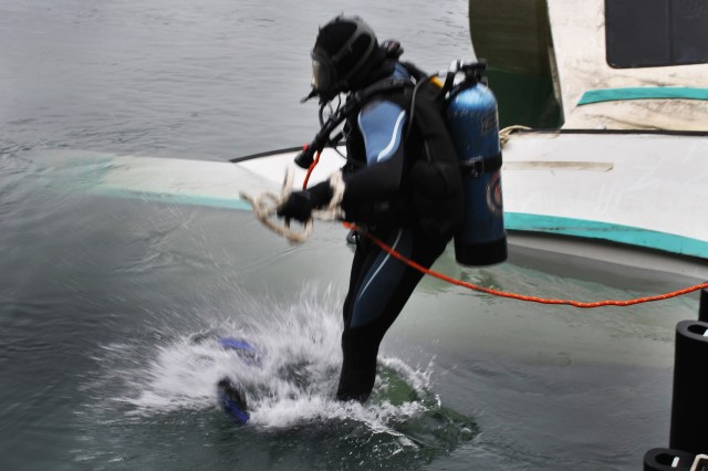 """A San Francisco District scuba diver jumps into the water to deploy air bags to raise the """"Jeanne,"""" a 15 ton sunken ship blocking half of the Noyo river federal channel.  The Divers deployed airbags around the crippled ship Jan. 25 at Noyo Harbor near Fort Bragg, Calif., while the Dillard shackled nylon straps and lifted the vessel with its pedestal-mounted grapple crane to stabilize the craft. USACE maintains 926 coastal, Great Lakes and inland harbors."""