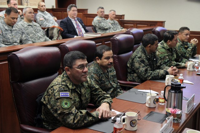 "FORT SAM HOUSTON, Texas - Military leaders from Nicaragua, Guatemala, Honduras and El Salvador, and security leaders from Panama, meet at U.S. Army North to hear a command briefing and discuss building military relationships Jan. 30. The visit, part of U.S. Army South's Central American Regional Leaders' Conference, also included a discussion of transnational criminal organizations. ""This is probably the first time we've worked this closely with Army South and with Central American army commanders, and this greater dialogue is a healthy thing,"" said Lt. Gen. William Caldwell IV, commanding general, Army North (Fifth Army), and senior commander, Fort Sam Houston and Camp Bullis. (U.S. Army photo by Staff Sgt. Keith Anderson, Army North PAO)"
