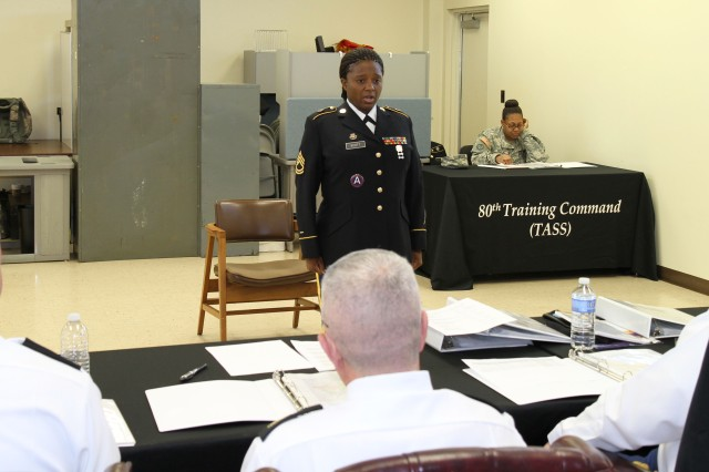 Sgt. 1st Class Cavornia Scott, a senior instructor with the 94th Training Division, recites the Non-commissioned Officer Creed during the United States Army Reserve Command Sergeant Audie Murphy Club board, hosted by the 80th Training Command (TASS) at the 80th Training Command headquarters, Richmond, Va., Feb. 1, 2013.