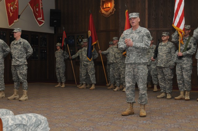 Maj. Gen. Bill Gerety; commander 80th Training Command (TASS); delivers an address during a Change of Command Ceremony where Brig. Gen. Thomas P. Evans handed over command of the 102nd Training Division to Col. Wayne M. Cavender; Fort Leonard Wood; Mo.; Feb. 3; 2013.