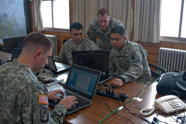 """Members of U.S. Army Japan's deployable assessment team conduct operations during exercise """"Sapporo Epicenter,"""" a humanitarian assistance and disaster relief exercise held at Camp Sapporo, Hokkaido, Jan. 23-27, 2013."""