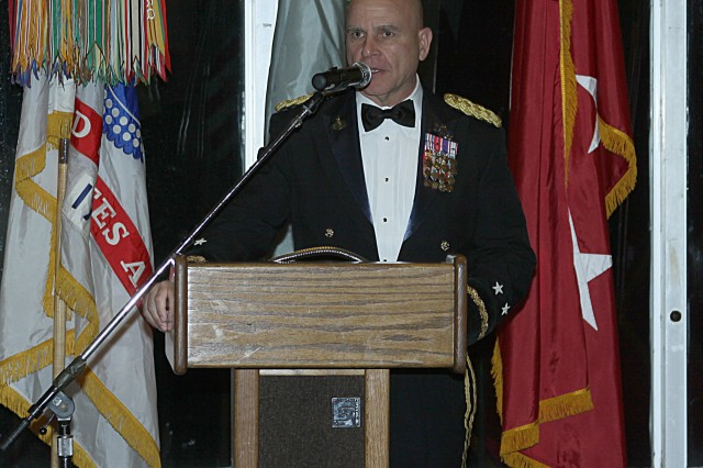 Maj. Gen. H.R. McMaster, U.S. Army Maneuver Center of Excellence commanidng general,  a guest speaker at the 3rd annual Maneuver Ball Feb. 1, at the West Point Club advises the future leaders that one of the awards of service is being a part of something bigger than themselves and as leaders, prepare their soldiers emotionally and psychologically for battle and describe the risks they will be facing.