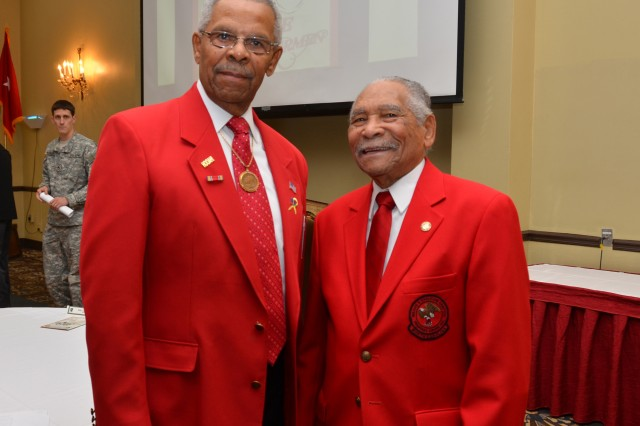 Mr. Donald Elder, left, was guest speaker at the 8th Military Information Support Group (Airborne) Equal Opportunity office hosting the first MISOC led African American Heritage Observance at the Fort Bragg Club. Joining Mr. Elder is Reverend John Jones. Elder and Jones  were members of the famed Tuskegee Airmen squadron
