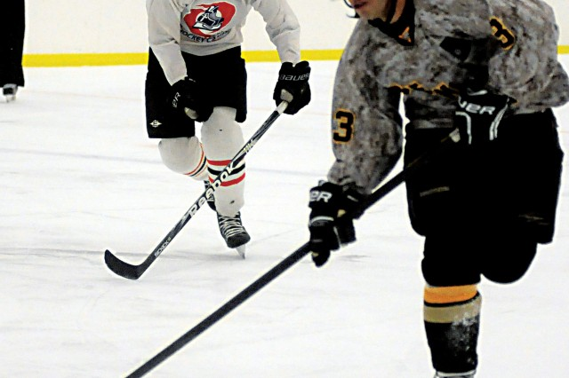 Capt. Patrick Toffler, a forward for the Fort Benning hockey team, helped build a successful club hockey team at the U.S. Military Academy.