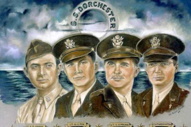 When the U.S. Army Transport Dorchester was struck by a German submarine, Feb. 3, 1943, four Army chaplains spread out among the Soldiers, calming the frightened, tending the wounded and guiding the disoriented toward safety.  They were Lt. George Fox, a Methodist; Lt. Alexander Goode, a Jewish Rabbi; Lt. John Washington, a Roman Catholic Priest; and Lt. Clark Poling, a Dutch Reformed minister.