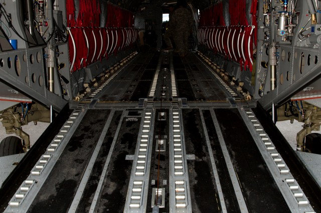 Pictured here is the new Cargo/On/Off Loading System floor of the CH-47F Chinook. It is designed to quickly load and unload aircraft and easily reconfigures in flight.
