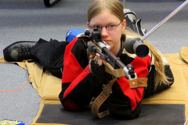 Shelby Gronhoff takes aim during a recent Vilseck Falcons JROTC Precision Rifle Team meet. Gronhoff is one of five members of the team that is currently competing in the annual Junior ROTC Air Rifle National Championships in Anniston, Ala., Feb. 10-17.
