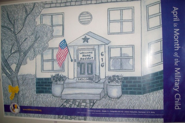 "HMHS senior Lauren Sink's piece ""Home at Last"" was chosen as the poster to advertise ""Month of the Military Child"" in 2012."