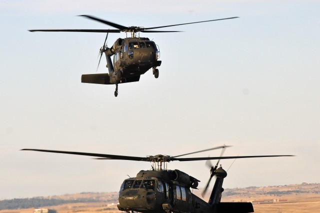The 4th Combat Aviation Brigade, 4th Infantry Division, received their first UH-60 Black Hawk helicopters at Butts Army Airfield on Fort Carson, Colo., Jan. 20, 2013. The helicopters are the first to arrive to the new combat aviation brigade.