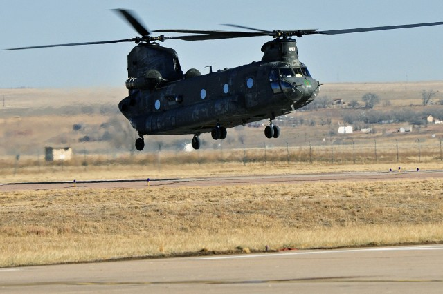 The 4th Combat Aviation Brigade, 4th Infantry Division, received their first CH-47 Chinook helicopters at Butts Army Airfield on Fort Carson, Colo., Jan. 22, 2013. The helicopters are the first to arrive to the new combat aviation brigade.