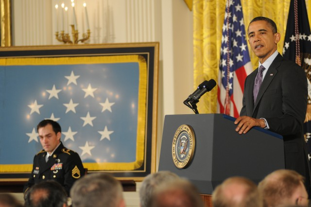 During a Feb. 11, 2013, ceremony in the East Room of the White House, president Barack Obama presented former Army Staff Sgt. Clinton Romesha with the Medal of Honor.