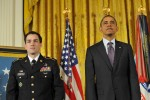 President Obama and Staff Sgt. Romesha stand at attention