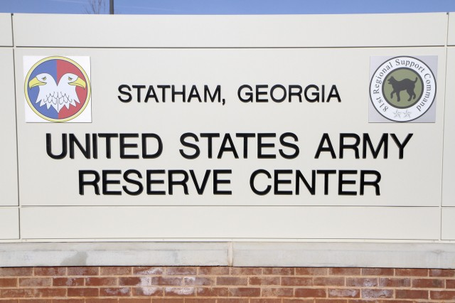 The sign in front of the new Army Reserve Center in Statham, Ga. The new facility will be home to the 228th Truck Company, the 514th and 525th Trailer Transfer Detachments and the 939th Cargo Transfer Company.