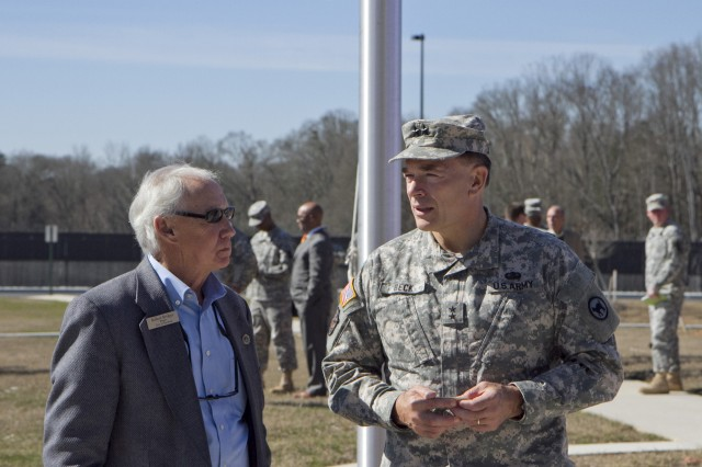 Maj. Gen. Gill Beck, commanderof the 81st Regional Support Command, speaks to Robert Bridges, Mayor of Statham, Georgia, just before the ribbon cutting ceremony for the new Army Reserve center in Statham, Georgia on February 9. The new facility will be home to the 228th Truck Company, 514th Trailer Transfer Detachment, 525th Trailer Transfer Detachment and the 939th Cargo Transfer Company.