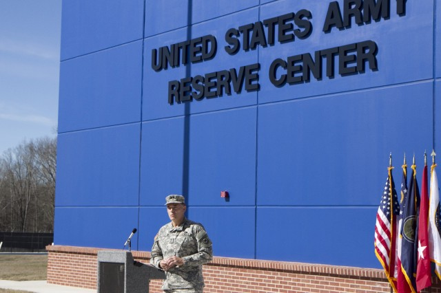 Maj. Gen. Gill Beck, commanderof the 81st Regional Support Command, speaks during the ribbon cutting ceremony for the new Army Reserve center in Statham, Georgia on February 9. The new facility will be home to the 228th Truck Company, 514th Trailer Transfer Detachment, 525th Trailer Transfer Detachment and the 939th Cargo Transfer Company.