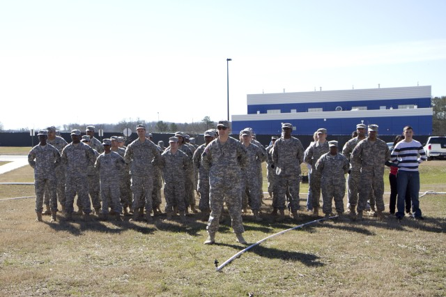 The 939th Cargo Transfer Company stands fast during the ribbon cutting ceremony for their new Army Reserve center in Statham, Georgia on February 9. The new facility will be home to the 228th Truck Company, 514th Trailer Transfer Detachment, 525th Trailer Transfer Detachment and the 939th Cargo Transfer Company.