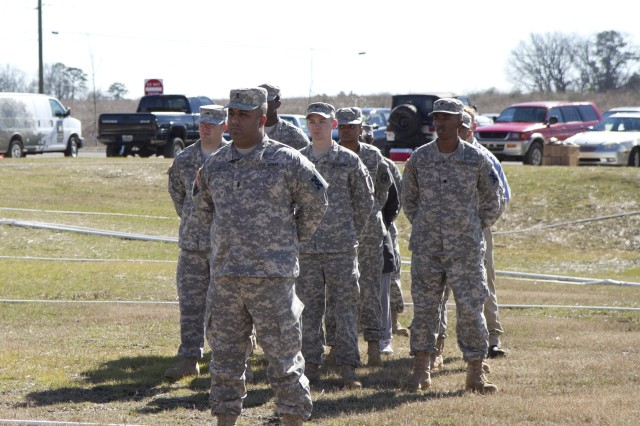 The 514th Trailer Transfer Detachment stands fast during the ribbon cutting ceremony for their new Army Reserve center in Statham, Georgia on February 9. The new facility will be home to the 228th Truck Company, 514th and 525th Trailer Transfer Detachments and the 939th Cargo Transfer Company.
