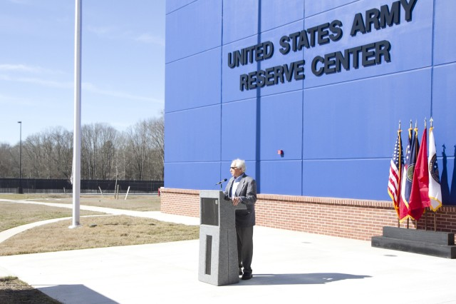 "Statham Mayor Robert Bridges, speaks during the ribbon cutting ceremony for the new Army Reserve Center in Statham, Georgia on February 9. The new facility will be home to the 228th Truck Company, 514th Trailer Transfer Detachment, 525th Trailer Transfer Detachment and the 939th Cargo Transfer Company. Mayor Bridges said ""I can't think of any better honor than to have the Army Reserve center here in Statham."""