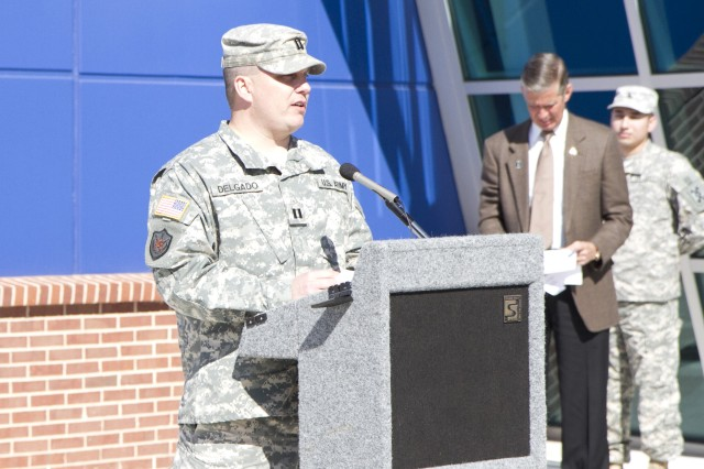 Capt. David Delgado, Jr., 228th Truck Company commander, speaks during the ribbon cutting ceremony for the new Army Reserve center in Statham, Georgia on February 9. The new facility will be home to the 228th Truck Company, 514th Trailer Transfer Detachment, 525th Trailer Transfer Detachment and the 939th Cargo Transfer Company. Delgado will also be the facility commander.