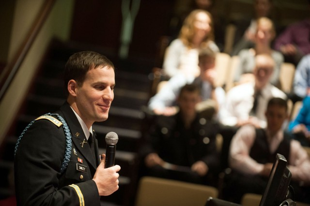 Capt. Scotty Smiley, assistant professor of military science at Gonzaga University, Wash., speaks recently during an event on campus.