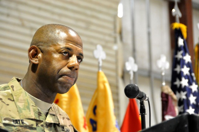Command Sgt. Maj. Carel L. Tate Jr., 2nd Battalion, 320th Field Artillery Regiment, 1st Brigade Combat Team, 101st Airborne Division, addresses recently promoted noncommissioned officers about the importance of understanding and utilizing their new found authority. Tate, the guest speaker for the Task Force Taskmaster noncommissioned officer induction ceremony, gave the newly promoted noncommissioned officers the keys to success in the Noncommissioned Officer corps at Jalalabad Airfield, Afghanistan, Feb. 6, 2013 (U.S. Army photo by Sgt. 1st Class John D. Brown, Task Force 1-101 PAO)
