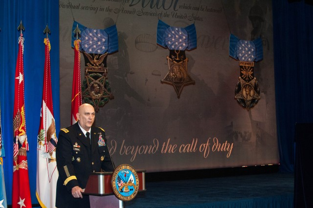 U.S. Army Chief of Staff Gen. Raymond T. Odierno speaks during the Hall of Heroes Induction Ceremony in honor of Medal of Honor Recipient Staff Sgt. Clinton L. Romesha at the Pentagon February 12, 2013.  (U.S. Army photo by Staff Sgt. Steve Cortez/ Released)