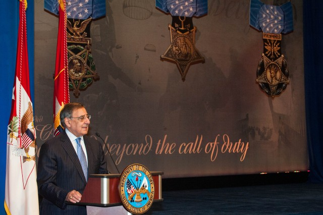 Secretary of Defense Leon E. Panetta speaks during the Hall of Heroes Induction Ceremony in honor of Medal of Honor Recipient Staff Sgt. Clinton L. Romesha at the Pentagon February 12, 2013. (U.S. Army photo by Staff Sgt. Steve Cortez/ Released)