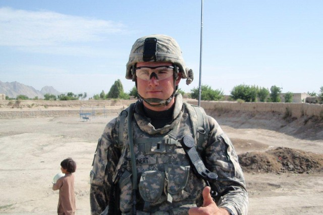 1st Lt. Joseph Theinert poses for a photo in Afghanistan in 2010. A New York Army National Guard Soldier who deployed with the 10th Mountain Division, Theinert fell in combat near Arif Kala in June of that year.
