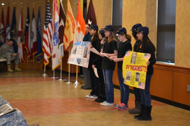 Members of the B.R.A.V.O. Club of Ballenger Creek Middle School, Frederick MD., participated in the Fort Detrick Black History Month Observance by acting out skits about the diversity and efforts of the U.S. Military and veterans.